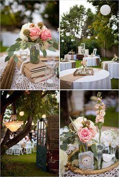 Centros y mesas para boda con preciosos colores pastel y tendencia shabby chic
