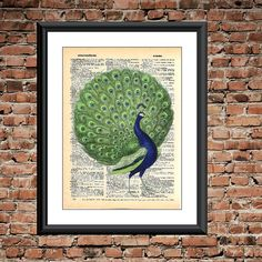 Blue and Green Peacock Dictionary Art Page Print -BOGO SALE -upcycled dictionary page, wall decor, Animal art print, bird decor, peacock art by FancyPantzPrints on Etsy