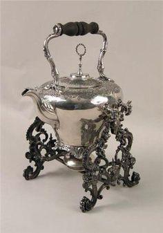ORNATELY-CHASED VICTORIAN SILVERPLATE TILTING TEA KETTLE
