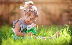 children pictures with bunny   Child Girl Playing with White Rabbit Wallpaper