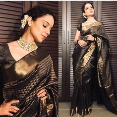Kangana Looks Divine in Saree Gifted By Rekha As She Attends Marathi Taraka Event - HungryBoo