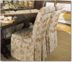 Slipcovered Parsons chair. Custom upholstered skirted chairs - mediterranean - Dining Room - New York - Decorating Den Interiors - Susan Keefe, C.I.D.