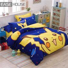 Aliexpress.com: Comprar 4 unidades de cama juego de pokemon Pikachu 100% algodón incluyen edredón cubierta de cama edredón colcha almohada de dibujos animados de cama en una bolsa de venta de liquidación confiables proveedores de Zhejiang zwj Import and Export Trading Co., Ltd.