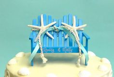 Beach Wedding - BLUE Adirondack Wedding Cake Topper - CHOOSE from 14 Ribbons, White or Sugar Starfish and Names or Mr. and Mrs. on Etsy, $42.00