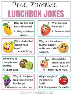 Simple Ways to Make Lunch Fun at School - Jokes - Funny memes - - Free Printable lunchbox jokes. My kids love these. Its a simple way to make homemade lunches FUN! The post Simple Ways to Make Lunch Fun at School appeared first on Gag Dad. Funny Jokes For Kids, Jokes Kids, Funny Puns, Lame Jokes, Puns Jokes, Food Puns, Funny Food, Fun Funny, Funny Stuff