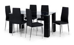 This Sleek Greenwich Dining table features a Clear Glass Tabletop with Black Faux Leather legs and useful Black Glass under shelf. The Greenwich Dining Table will comfortably seat 6 people - http://www.furn-on.com/greenwich-dining-set.html