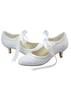 Chaussures de mariage à talons hauts ivoire en dentelle à lacets -  Milanoo.com Chaussure 93cd9a980ea9