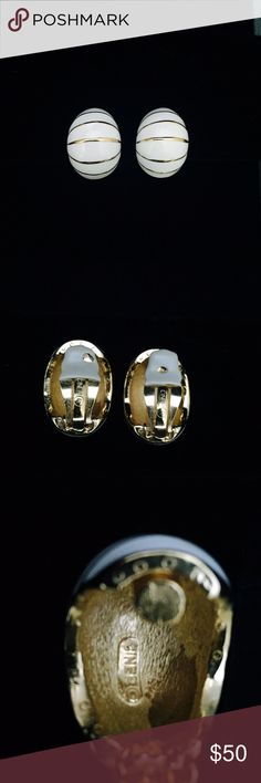 Ciner vintage clip on earrings Ciner vintage, gold with white enamel inlay, half moon, clip on earrings. Ciner Jewelry Earrings