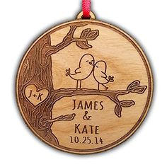 $13.25 + $4.68 shipping - Newlywed Christmas Ornament Lovebirds Personalized Heart Tree Trunk Design Mr Mrs Wedding Date Name Engraved Couples Our First Christmas Gift for Him Her Engagement Holiday Together Wood Custom Christmas Personalized Couple's 1st Custom-Ornaments-by-Stocking-Factory http://www.amazon.com/dp/B00OUYEPDU/ref=cm_sw_r_pi_dp_zUVvub15V2ZNE