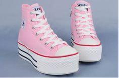 kawaii cute pink converse platforms harajuku japanese fashion