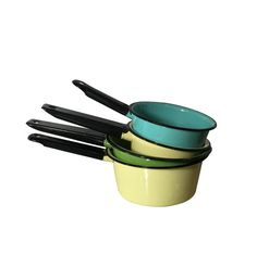 1930s Enamel Cooking Pans Vintage Camping Set of 4 by Nachokitty