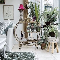 Beautiful drinks trolley styling with lots of lush house plants. Gold Luxe Round Drinks Trolley from Audenza. Gold Drinks, Drinks Tray, Drinks Trolley, Bar Trolley, Bar Carts, Beverages, Gin Goblets, Gold Ornate Mirror, Gin Brands