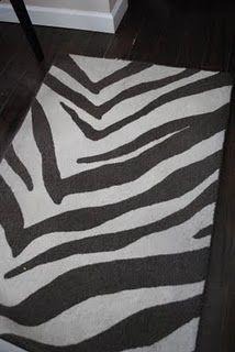 DIY Zebra Print Rug, everyone needs at least one thing zebra print :) Zebra Painting, Diy Painting, Zebra Print Rug, Zebra Rugs, Animal Print Decor, Painted Rug, Cheap Carpet, Do It Yourself Home, White Rug