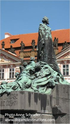 Old Town Square Statue of Jan Hus, an early preacher who fought for reform of the Catholic Church--the first Protestant reformer.  He was burned at the stake and this Memorial symbolizes the long struggle of the Czechs for freedom.  Prague Old Town Czech Republic.