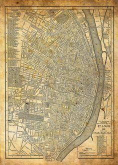 1949 Vintage Map of Downtown St Louis. I didn\'t know the Jefferson ...