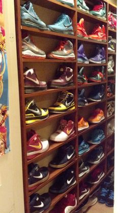 jordans Cool sneaker wall of LeBrons. Might have one of these someday. Wrought Iron Trellis, Wind Chimes Sound, Things That Bounce, Things To Come, Metal Fire Pit, Visual Aesthetics, Shoe Display, Southwest Decor, Large Candles