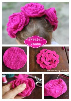 felted wool roses felt roses  ☀CQ #sew #sewing #crafts #DIY