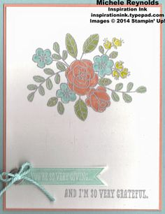Handmade card by Michele Reynolds, Inspiration Ink, using heat embossing and Stampin' Up! products - So Very Grateful, Stampin' Emboss Powder, Bitty Banners Framelits, Basic Metal Buttons, and Sweet Sorbet Accessory Pack from Sale-A-Bration 2014.
