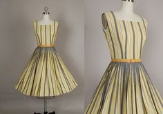 vintage 1950s dress 50s dress full skirt striped cotton gold gray day dress