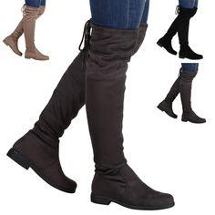 894905 Warm Gefütterte Damen Stiefel Flache Boots Schlupfstiefel Trendy