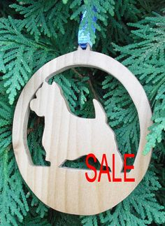 Wooden Westie Christmas Tree Ornament Christmas by PawPawsWorkshop