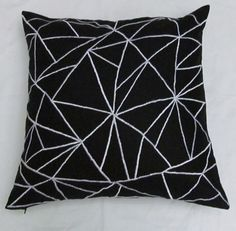 black and white linen graphic throw pillow cushion cover. $25.75, via Etsy.