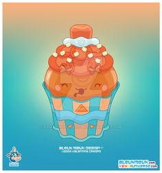 Kawaii Caramel Papaya Cupcake by KawaiiUniverseStudio.deviantart.com on @DeviantArt