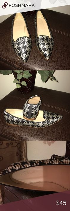 J. Crew Harper Fabric Flats Houndstooth pattern, fabric material is poly/leather, ballet flat style. J. Crew Shoes Flats & Loafers
