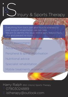 Don't let an injury impact your life. Contact us now at istherapy@Outlook.com to book a treatment session and begin your recovery