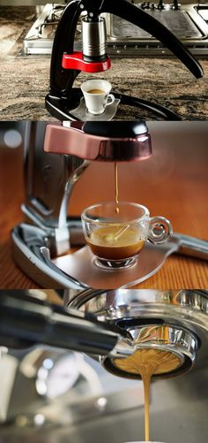 Hand pump espresso. Portable and only uses your own strength to make the espresso shot.