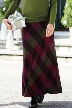 Plaid Knit Maxi Skirt from Nally & Millie® | Chadwicks of Boston