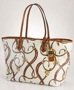 Lauren Ralph Lauren Caldwell Beltin Large Classic Tote Purse Shoulder Bag, Cream Belt