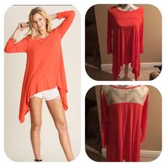 Boutique top! This coral lace tunic is perfect for spring!!! Love love love this!! Available in small medium & large!  Tops Blouses