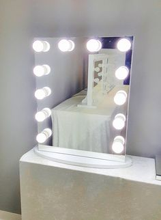 frameless hollywood forever lighted vanity mirror w led bulbs u0026 dual outlet - Lighted Vanity Mirror