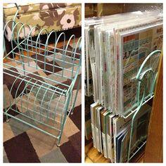 Mrs Crafty Adams | Junkin - Record Stand Scrapbook Paper Storage