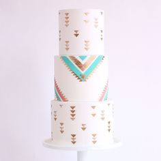 Boho weddings I predict its still gonna be pretty in this year... let me know your thoughts! You can grab my new stencils at @evilcakegenius (link in bio!) #bohocake #cakedecorating #cakeart #cakeallthethings #boho #bohowedding #bohemian #tribalpatterncake #goldluster #goldcake
