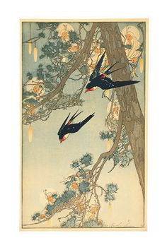 Bertha Lum--Land of the Bluebird (Swallows), 1916, Color Woodcut.