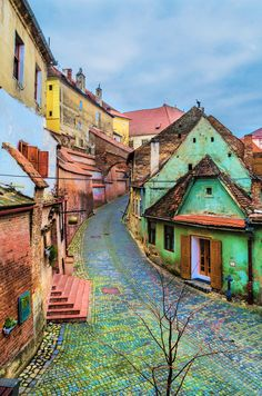 Colorful streets in Sibiu, Romania. Places Around The World, Oh The Places You'll Go, Travel Around The World, Places To Travel, Places To Visit, Around The Worlds, Travel Destinations, Bósnia E Herzegovina, Visit Romania
