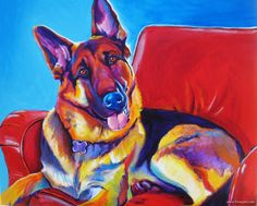DawgArt acrylic on canvas painting of Zeke, the German Shepherd by Alicia VanNoy Call