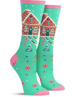 gingerbread house fun holiday socks for women Silly Socks, Funky Socks, Crazy Socks, My Socks, Holiday Socks, Ugly Christmas Sweater, Halloween Yard Art, Halloween Ideas, Cool Socks For Men