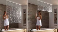 """Cool Idea! Could serve as a privacy """"wall"""" for walk in shower area ... which would save a ton of space ... & wouldn't have to rotate the toilet .. or shorten the vanity wall. *** Shower Curtain From Ceiling"""