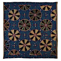 """Unique Indiana Amish Quilt. Woolens are heavily embroidered to create an extraordinary surface. 74"""" x 76"""".  Per Stella Rubin Antiques: """"Anyone who thinks of the Amish as drab hasn't seen this quilt"""""""