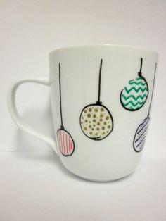 Hanging Ornaments Mug, Christmas Mug // Hand Drawn For inspiration :) i could probably do this myself for like $5
