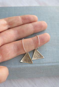 Driehoek oorbellen sterling zilver hoepels etnische door lunahoo