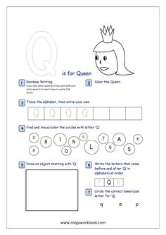 Alphabet Recognition Activity Worksheet - Capital Letter - Q For Queen Letter Q Worksheets, Printable English Worksheets, Nursery Worksheets, English Worksheets For Kindergarten, Printable Alphabet, Free Printable, Printables, Preschool Letters, Alphabet Activities