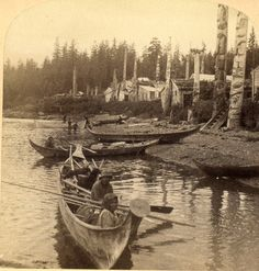 Kasaan Alaska Haida Tlingit Kasa An Village Finely carved totem poles, plank houses, canoes-- Indigenous Stereoview