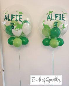 """Touch of Sparkles on Instagram: """"Alfie 3 🦖 . . #bubbleballoons #birthdayballoons #balloons #dinosaurballoon #balloons🎈 #3rdbirthday #birthdayballoons #green #white…"""" Dinosaur Birthday Party, 3rd Birthday Parties, Birthday Balloons, 4th Birthday, Dinosaur Balloons, Bubble Balloons, White Balloons, Sparkle Party, Bday Girl"""