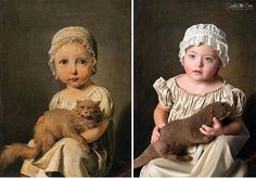 Albanian photographer Soela Zani has created a stunning series of photos, featuring children with Down syndrome as famous paintings. Gabrielle Arnault as a child.
