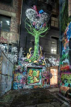 Graffiti in Melbourne : the tree in hosier lane  Melbourne is my city, it is my base. I know so many places but which one are the best to visit. Here is the top 15, not to be missed  http://mel365.com/places-to-visit-in-melbourne/