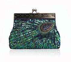 The design of this peacock sequin clutch takes me back to the past - $23.86